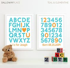 Baby Boy Nursery Decor Boys Nursery Art Prints by DallowayPlace
