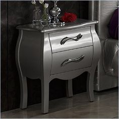 Dupen Lorena Nightstand in Silver - This bedroom collection will create a visual fantasy in your bedroom using traditional shapes in the modern interpretation.    Features: This silver finish bedroom collection combines wood, fabric and metal to lend a special and remarkable elegance. Made in Spain  Specifications: Product Weight: 28lbs Overall Product Dimensions: 24H x 20W x 12D