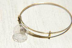 / 森林女孩 / 英式簡約玻璃球古銅手環 / 手鐲 - 蒲公英森林
