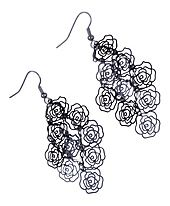 """Scribbled Roses Drops $10.95  Floating scribbled rose design drop earrings. Chandelier style with hematite rose flower designs. Perfect accessory to compliment the floral trend, wear them with a floral top, skirt, or dress. 3"""" total drop length. #earrings #accessories #fashion #jewelry"""