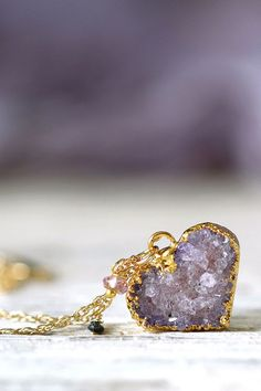 Amethyst druzy heart necklace. Because your birthday is in February and you should get what you want.