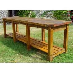 http://www.frenchreclamation.com/Pitch-Pine-Consort-Table-with-Slatted-Shelf-1