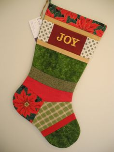 Christmas Stocking One-of-a-Kind Embroidered by VanDijkDesigns Fabric Design, Christmas Stockings, Joy, Sewing, Holiday Decor, Home Decor, Scrappy Quilts, Needlepoint Christmas Stockings, Dressmaking