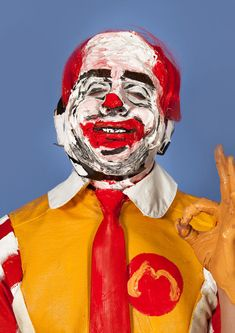 Ronald McDonald Canadian artist Marie-Lou Desmeules slathers paint, hair, fabric, paper, and plastic on models, transforming them into garish, wonderfully creepy living replicas of famous people an...