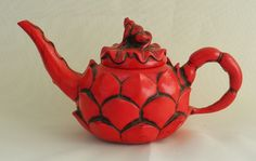 Antique Chinese Tea Pot. Decorative Red Lacquer. 19th C found on Ruby Lane
