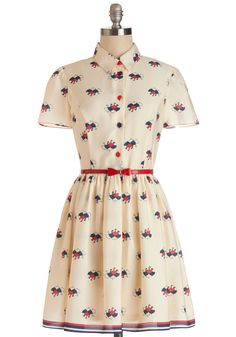 April Showers Dress. You bring a ray of sunshine to this fully-lined, short-sleeved cream dress from Nishe! #cream #modcloth