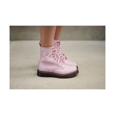 baby pink doc martens ❤ liked on Polyvore featuring shoes