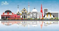Buy Delhi India City Skyline with Color Buildings, Blue Sky and Reflections. Delhi India City Skyline with Color Buildings, Blue Sky and Reflections. Business Travel and Tou.