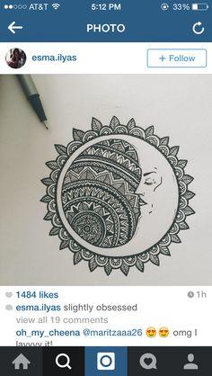 "ԑ̮̑♦̮̑ɜ~Mandala para Colorear~ԑ̮̑♦̮̑ɜ ""Ligeramente Obsesionado "" ""slightly obsessed"" Et Tattoo, Mandala Art, Moon Mandala, Zentangle Patterns, Doodles Zentangles, Doodle Art, Cool Drawings, Art Inspo, Amazing Art"