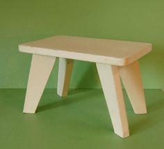 Wooden Foot Stool / Creamy White Wood Foot Stool / Plant Stand