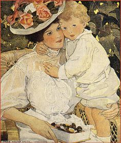 Vintage painting of mother and child. (Jessie Wilcox Smith)