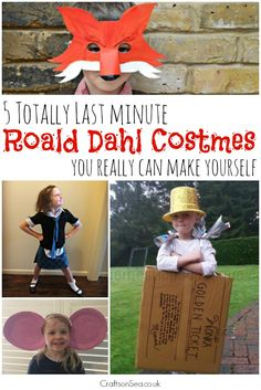 Make Roald Dahl Costumes that look great but won't take you all night!! Includes ideas that will only take you minutes to prepare for Roald Dahl Day - phew!