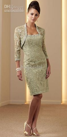 Wholesale Sophisticated 2012 Elegant Sheath Strapless Lace Custom-made Knee-Length Mother Of The Bride Dresses, Free shipping, $128.8-141.12/Piece | DHgate