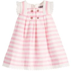 Baby girls sleeveless, white and pink striped dress by Mayoral Chic. This cotton dress has a sailor-like collar and a flared, box pleated skirt with lace trim around the armholes and neckline. It has button detail on the bodice, is fully lined and has a concealed zip fastening down the back for easy dressing.<br /> <ul> <li>100% cotton (smooth, lightweight feel)</li> <li>Lining: 65% polyester, 35% cotton (smooth lightweight feel)</li> <li>True to size fit</li> <li>Machine wash (30*C)</li…