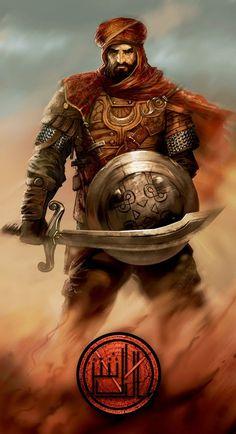 m Fighter Chain Armor Shield Sword midlvl Malik al ashter by saad irfan Fantasy Male, Fantasy Warrior, Fantasy Rpg, Medieval Fantasy, Fantasy Artwork, Arabic Characters, Dnd Characters, Fantasy Characters, Fantasy Inspiration