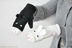 Cat gloves adult size cats yin yang black white warm by warmsy, $34.00