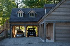 Outbuildings - Border Oak - oak framed houses, oak framed garages and structures. Carport Designs, Garage Design, House Design, Carport Garage, Barn Garage, Garage Doors, Garages, Garage With Room Above, Timber Frame Garage