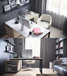 meubles bureau à la maison modernes- bureau d'angle lampe Jieldé vintage des années 50
