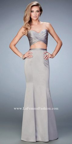 Two Piece Satin Illusion Prom Dress by La Femme #edressme