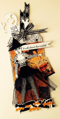 Artist: Cathy Arnold Halloween Tag Swap 2014 using Character Constructions stamps.
