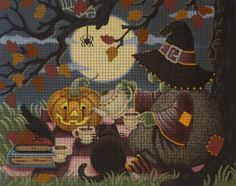 "A pillow depicting a witch having a moonlit tea-party with her cat, a spider, a crow, and a jack-o'-lantern.   Artist: Ashley Dillon Dimensions: 12.5x9.75"" Mesh Size: 18"