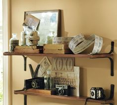 I like the rustic but simple look of these shelves from Pottery Barn