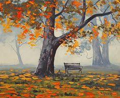 Park Bech Canvas Print / Canvas Art by Graham Gercken Fine Art America Impressionist Landscape, Landscape Art, Landscape Paintings, Impressionist Artists, Graham Gercken, Fine Art Amerika, Australian Painters, Scenery Paintings, Tree Paintings
