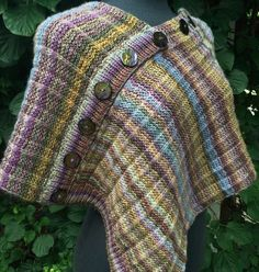Free Knitting Pattern for One Row Repeat Mira Monte Poncho  - This poncho is knit with simple, one-row repeat based on broken garter ribbing that works well with variegated yarn. Designed by Andra Asars.