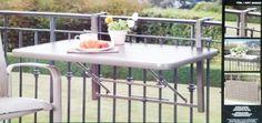 折りたたみ式ベランダテーブル 天板サイズ98×58cm 手すりに固定して仕様ができるテーブル