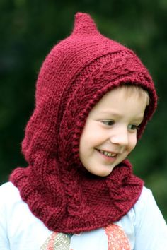 Free Knitting Pattern for Hooded Cowl - Adult and child size pullover hood with cable trim. Bulky yarn. Sizes Toddler Ages 4 – 6; Ages 7 – 12; Teen/Small Adult; Large Adult. Designed by Gretchen Tracy of Balls to the Walls Knits.