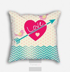 18x18 inches Decorative Throw Pillow Case. Romantic Love Heart Arrow Chevron Pattern Pillow Cover. Double sided Print