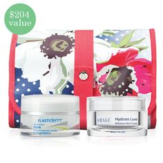 Obagi 3-Piece Set - Luxe | Get two of Obagi's hottest skin care products wrapped in a fun travel cosmetic bag! Perfect for women of all ages, the Obagi 3-Piece Set includes a full-size ELASTIderm Eye Cream along with an Obagi Hydrate Luxe Moisture-Rich Cream. The two are complemented with a colorful travel cosmetic bag.