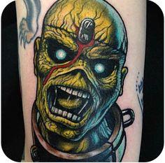 Eddie from Iron Maiden tattoo Great Tattoos, Iron Maiden, Tatting, Skull, Good Things, Creative, Tattoo Ideas, January, Awesome Tattoos