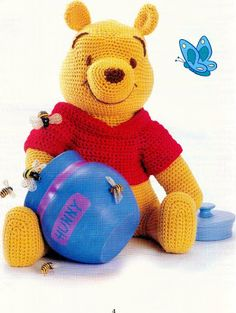 Amigurumi Winnie the Pooh - FREE Crochet Pattern / Tutorial in ENGLISH (click on right arrow to get to pattern)