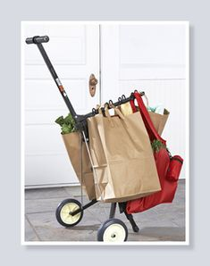 The Hook and Go Smart Cart is perfect for the Farmer's Market, schlepping groceries, whatever... It's very sturdy and well-made.  Holds up to 70 lbs!  Way better than a granny cart!!