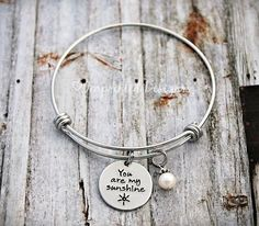 Alex And Ani Bracelet - Mother Bracelet - Personalized - Adjustable - You Are My Sunshine - Hand Stamped Jewelry - Mom - Grandma