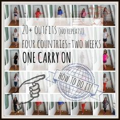 20+ Outfits and Two Weeks in One Carry On: How I Did It She has some good tips!
