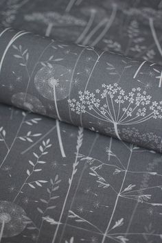 paper meadow fabric in charcoal by Hannah Nunn