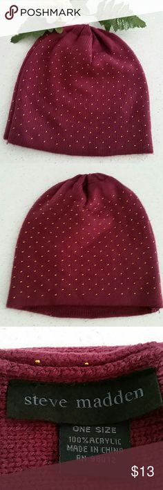🎀STEVE MADDEN GOLD MINI STUDS PURPLE BEANIE🎀 Steve Madden.  Purple fuchsia color. Gold mini studs throughout.  One size. Please see last pictures for more accurate color. Steve Madden Accessories Hats