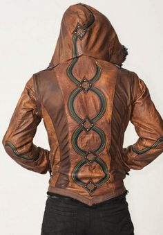 Anahata Designs Men's Leather Rainbow Serpent jacket