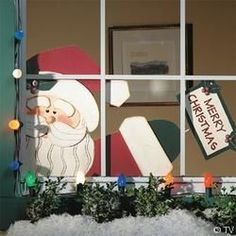 santa at the window Outdoor Christmas, Christmas Art, Christmas Ornaments, Decor Crafts, Diy Crafts, Arts And Crafts, Seasonal Decor, Holiday Decor, Xmas Decorations
