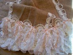 Burlap lace table runner farmhouse long shabby by AnitaSperoDesign, $94.00