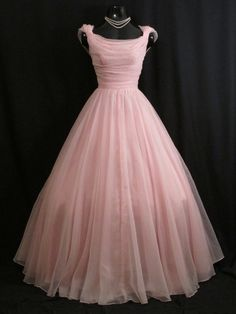 Vintage 1950's 50s Baby PINK Emma Domb CHIFFON Organza Party Prom DRESS Gown