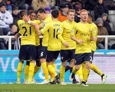 Elia (second left) is mobbed by his Southampton team-mates after netting his second goal o...