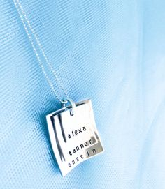 Stacked Square Mommy Necklace - Mother's Day Jewelry - Personalized Mom Necklace - Hand Stamped Mommy Necklace. $35.00, via Etsy.
