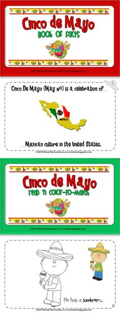 Book of Facts and Color-to-Match activity for Cinco de Mayo.