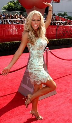 Kendra Wilkinson White and Gold Dress