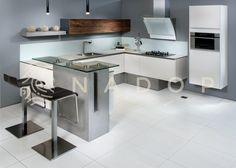 Kuchyně Creative je novinkou v oblasti progresivních materiálů, praktických spotřebičů a doplňků v souladu s jednoduchým a zajímavým designem. Spojením laku ve vysokém lesku, nábytkářského betonu a osmivrstvé dýhy s efektem štípaného dřeva vznikla na pohled velmi příjemná kombinace této kuchyně od NADOPu. Trendy, Kitchen, Table, Furniture, Home Decor, Cooking, Decoration Home, Room Decor, Kitchens