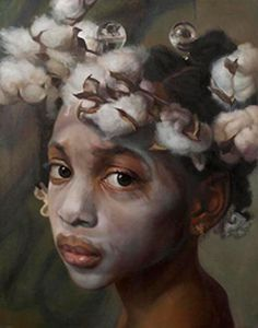 """Amazing Grace"" - Margaret Bowland (b. 1953), pastel and charcoal on paper, 2011 {contemporary figurative realism artist african-american black female child head art beautiful girl cotton face portrait drawing #loveart} margaretbowland.com"
