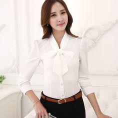 Fashion female Korean Style long sleeve bow shirt OL office Formal elegant ruffles chiffon women blouse plus size office tops #Affiliate